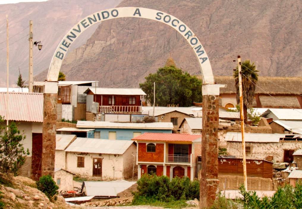 Entrada al pueblo de Socoroma