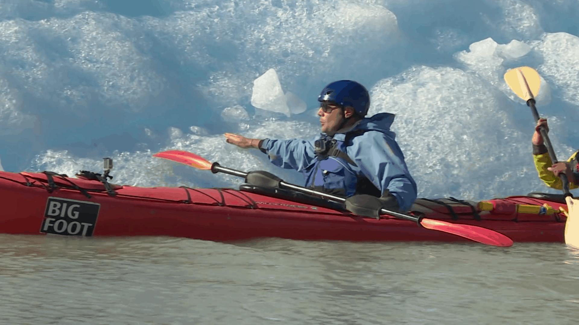 Kayak en el Glaciar Gray